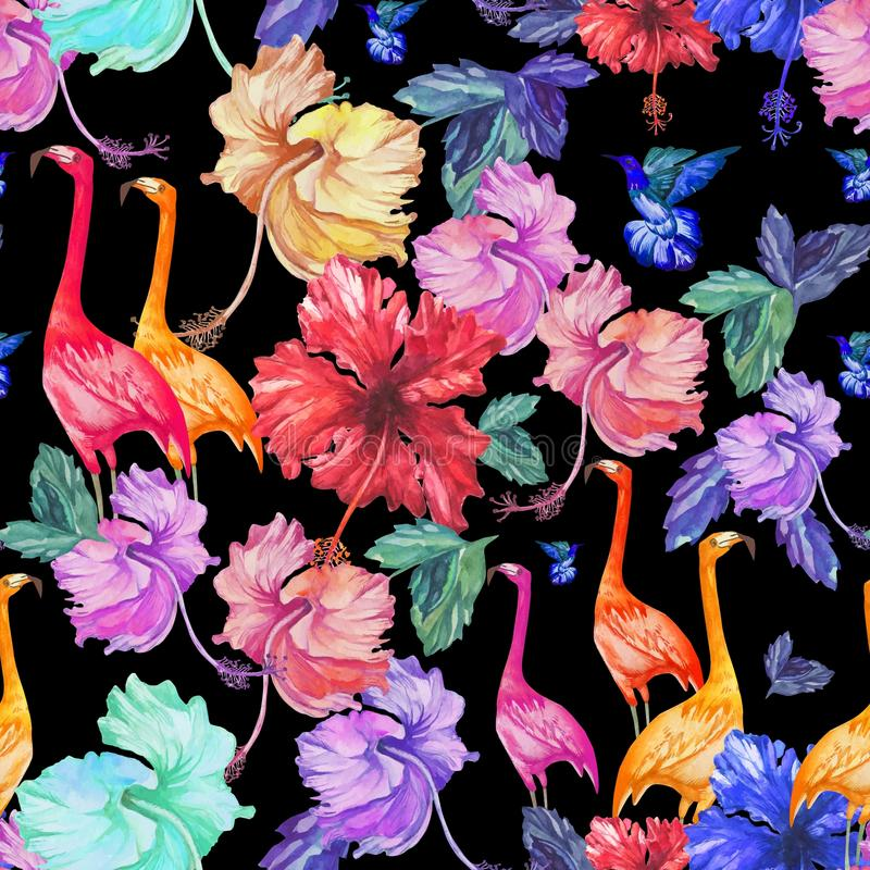 Pattern Seamless watercolor tropical flowers, palm tree and birds. stock illustration