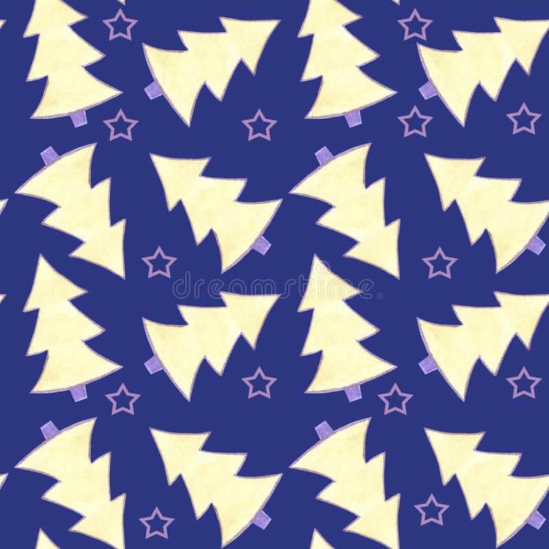 Pattern seamless watercolor with yellow and violet fir trees and violet stars on blue background. vector illustration