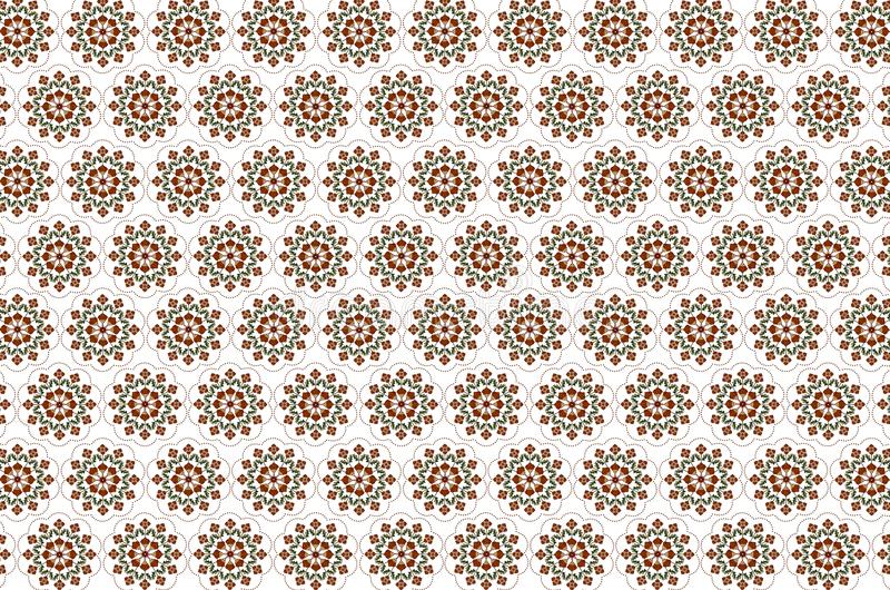 Pattern for seamless white background of embroidered bouquets with stylized orange flowers stock illustration