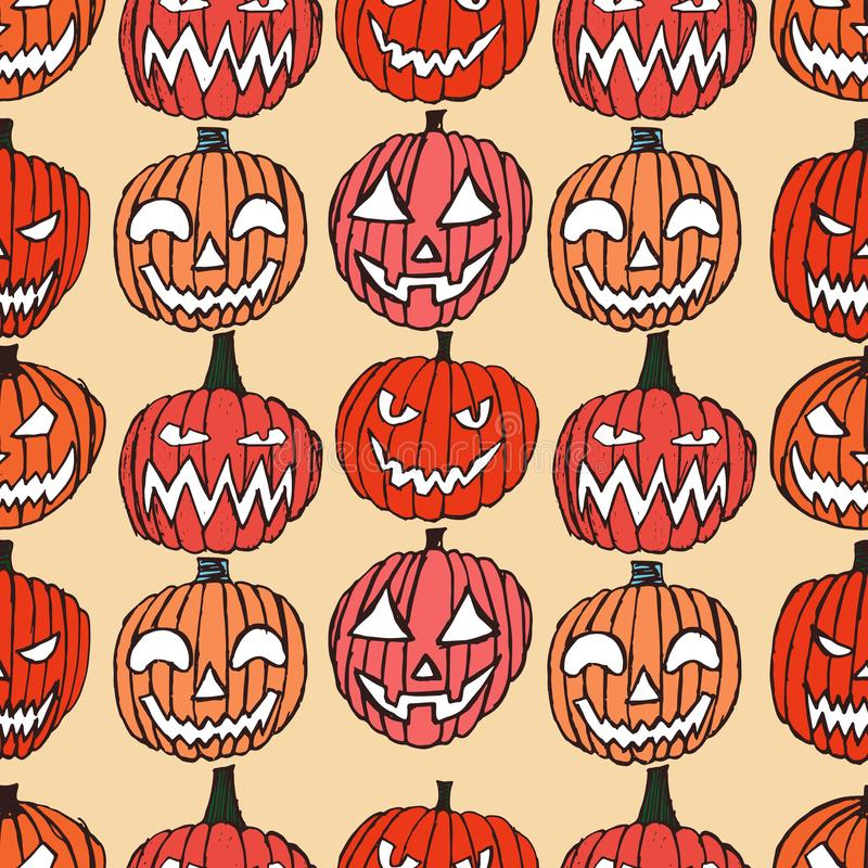 Pattern with Set of Halloween scary pumpkins vector illustration