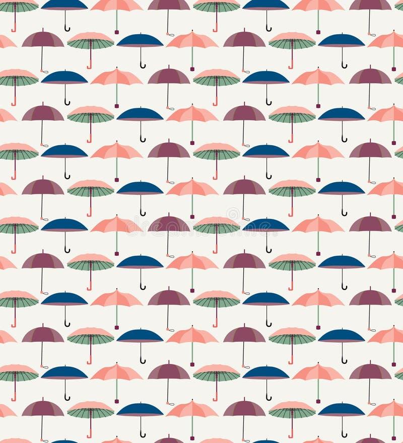 Pattern with a set of textured flat umbrellas. Vector Cute seamless pattern with a set of textured flat umbrellas stock illustration
