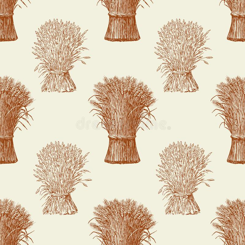Pattern of the sheafs of wheat stock illustration