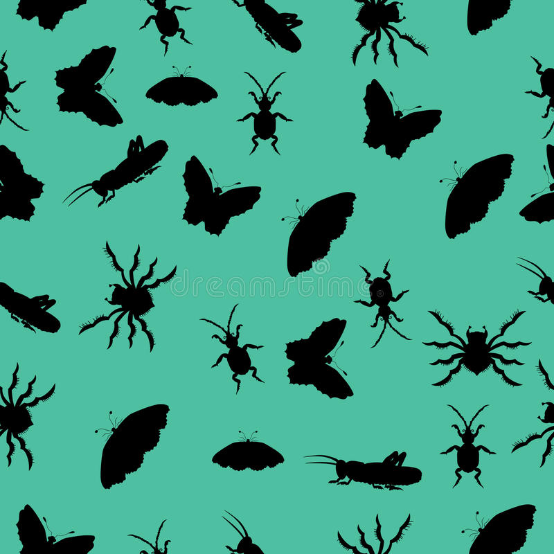Pattern of silhouettes of insects. vector illustration. Drawing by hand. vector illustration
