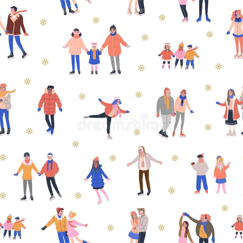 Pattern with skating  people and golden snowflakes. Pattern with skating tiny people having fun on ice rink. Backdrop with happy women, men and kids in warm stock illustration