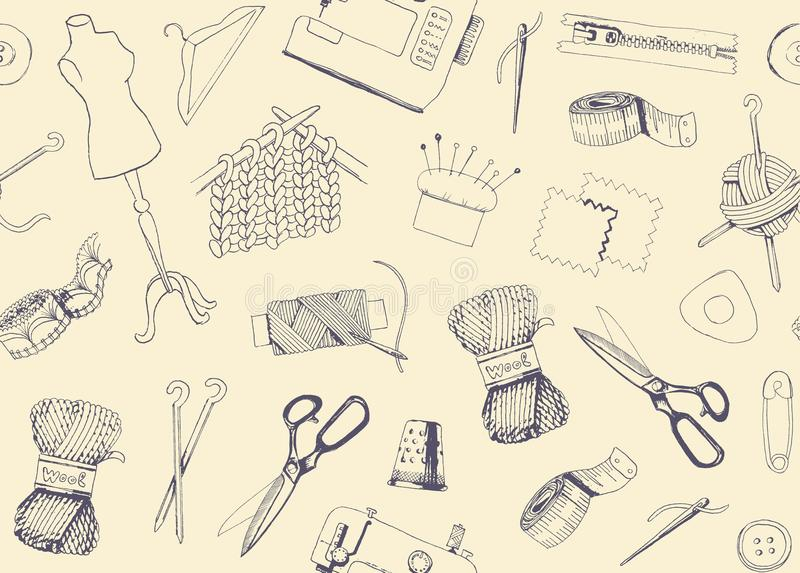 Pattern with sketches of sewing and knitting. Seamless background with sketches of tools and materials for sewing and needlework stock illustration