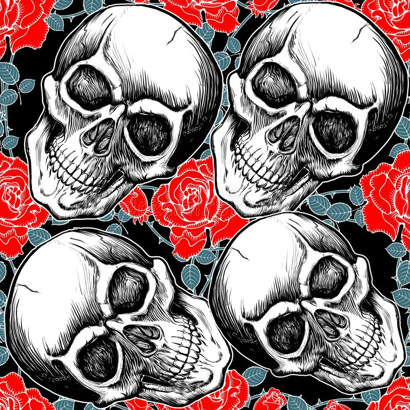 Pattern skull with rose hand drawing vector stock illustration