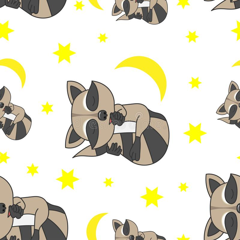 Pattern_sleeping_raccoon stock illustratie