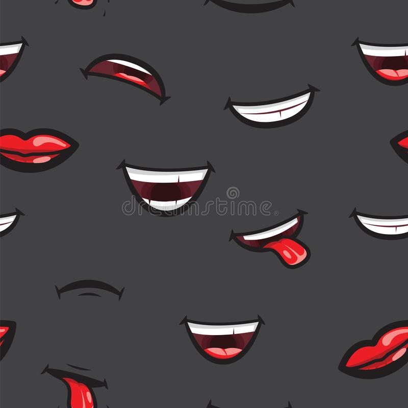 Pattern smiling lips, mouth with tongue, white toothed smile and sad expression. Lips and mouth expressing different royalty free illustration