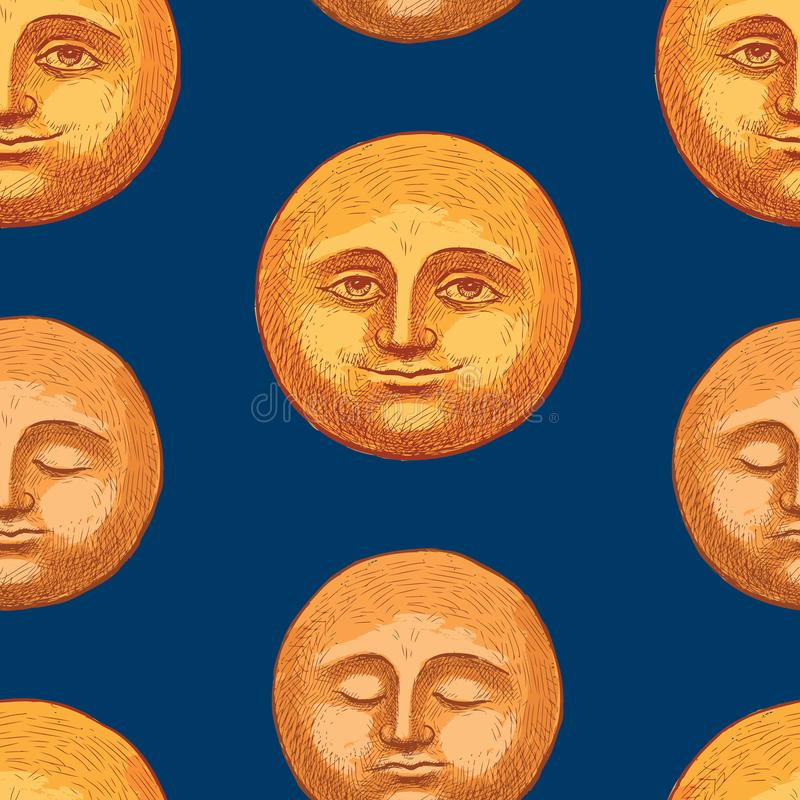 Pattern of the smiling and sleeping moons vector illustration