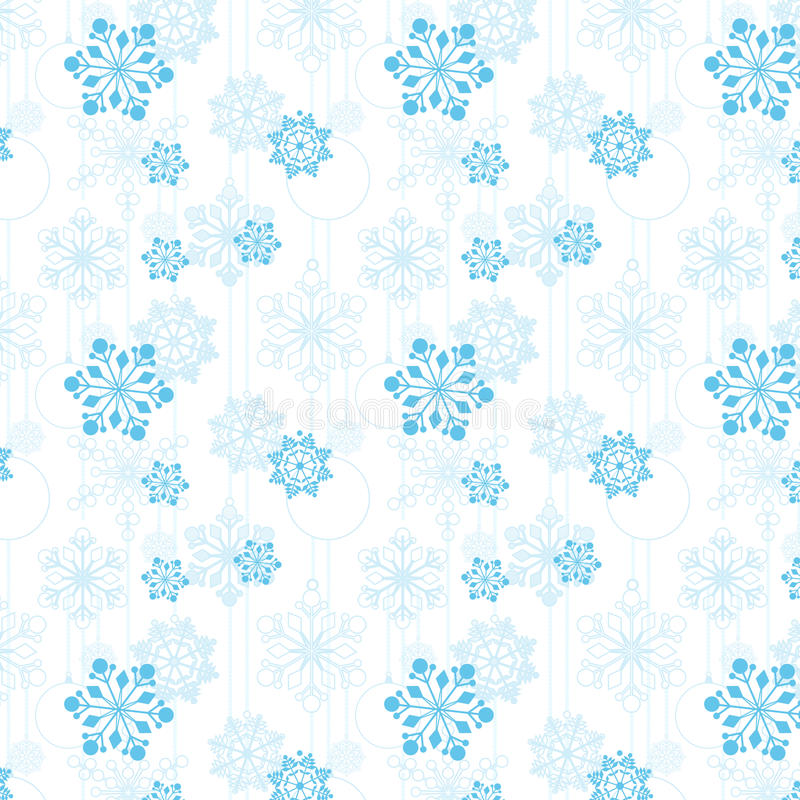 Pattern of snowflakes and Christmas tree balls stock illustration