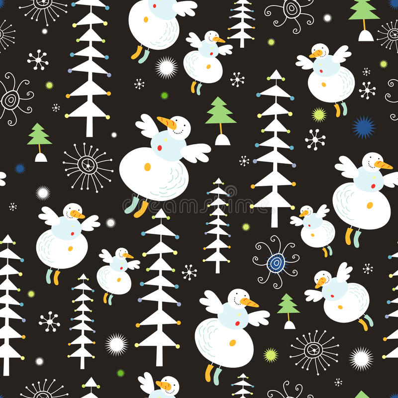 Download Pattern Of Snowmen And Christmas Trees Stock Vector - Image: 21945825