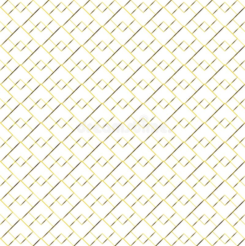 Abstract Golden Geometric Seamless Squares Pattern in White Background royalty free illustration
