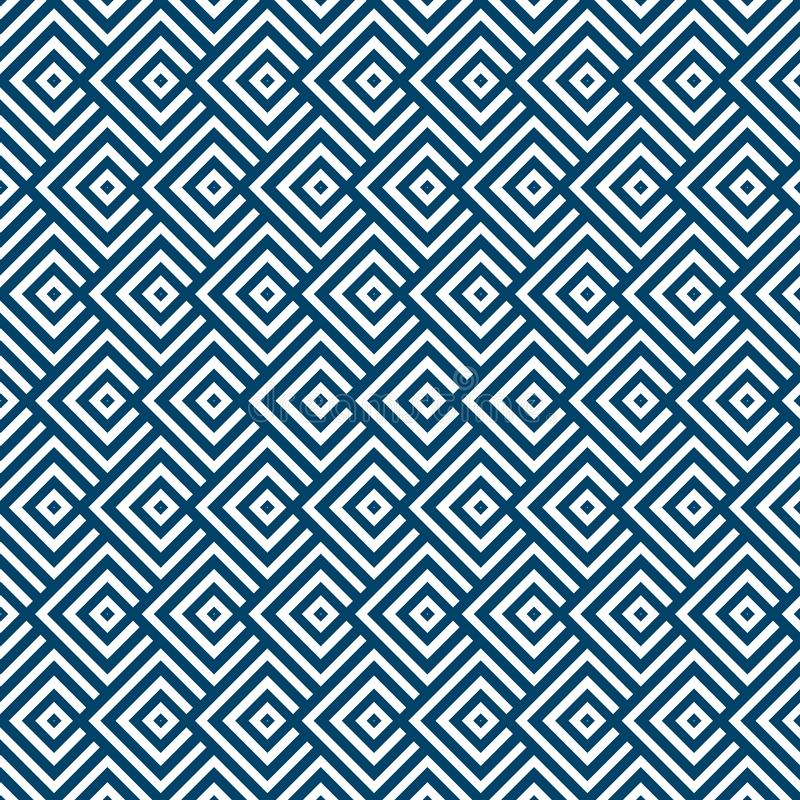 Seamless Geometric Blue and White Striped Squares Pattern Background royalty free illustration