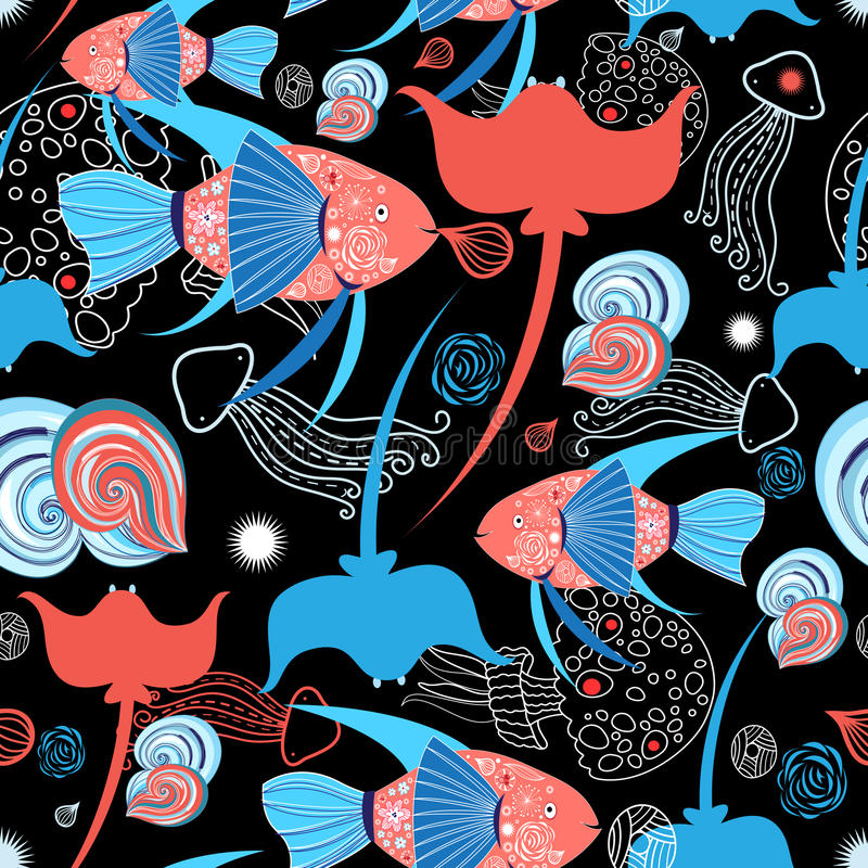 Pattern with stingray and fish stock illustration