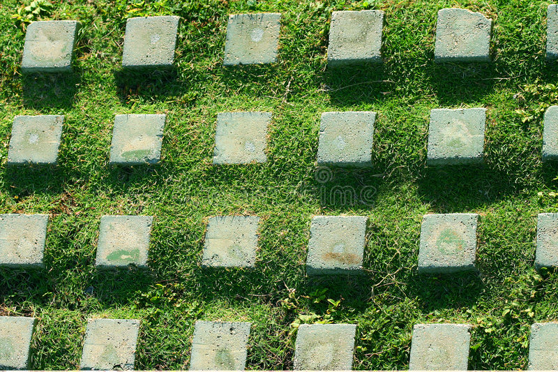 Pattern stone and grass stock image
