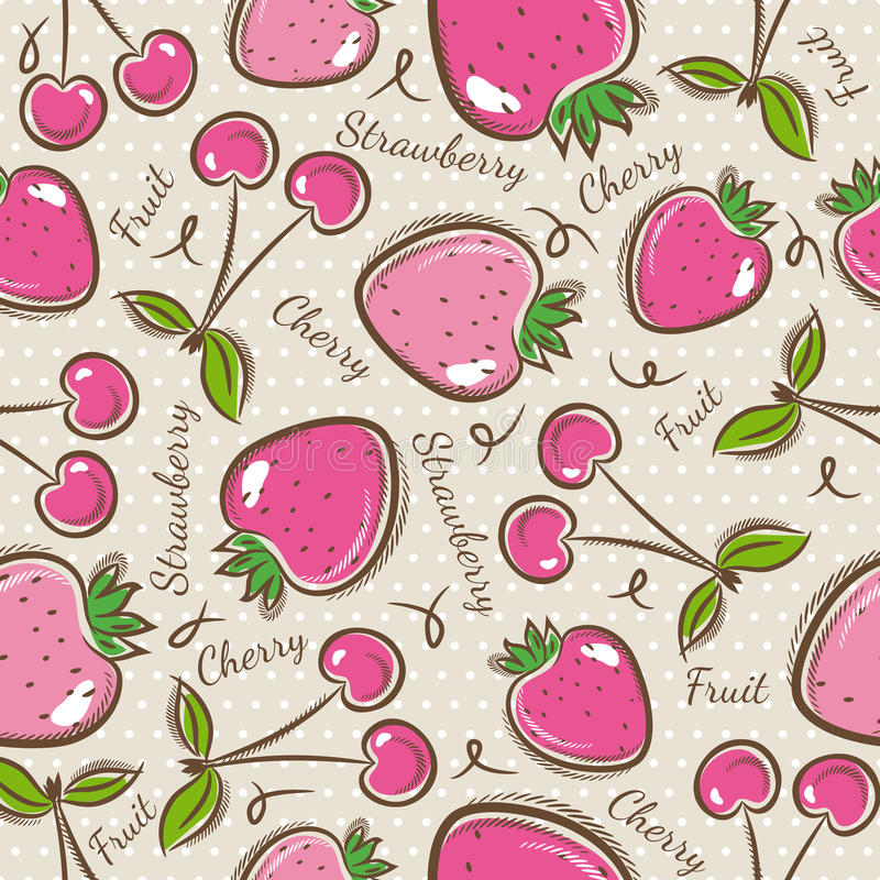 Pattern with strawberry and cherry. vector illustration
