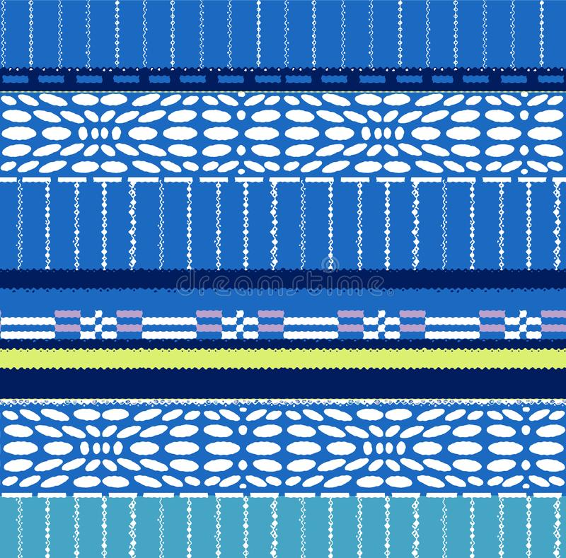 Pattern of stripes, ovals and rectangles. A horizontally repeating blue geometric ornament.  Pattern of stripes, ovals and rectangles stock illustration