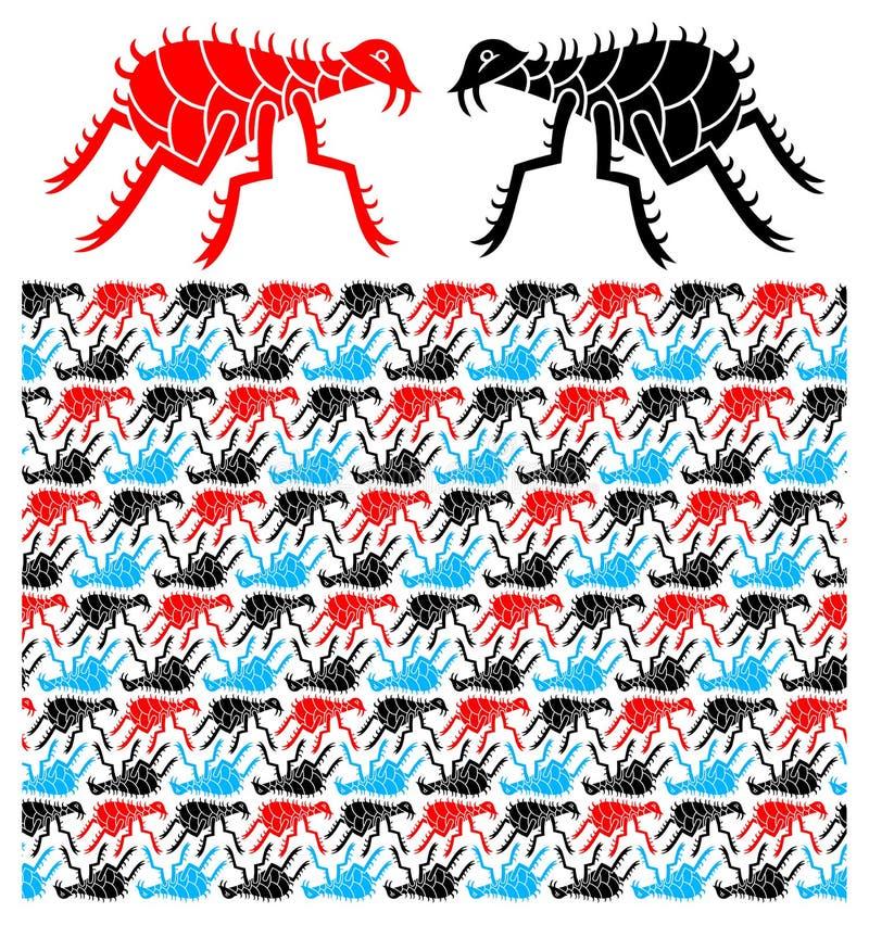 Pattern With Stylized Fleas Stock Image