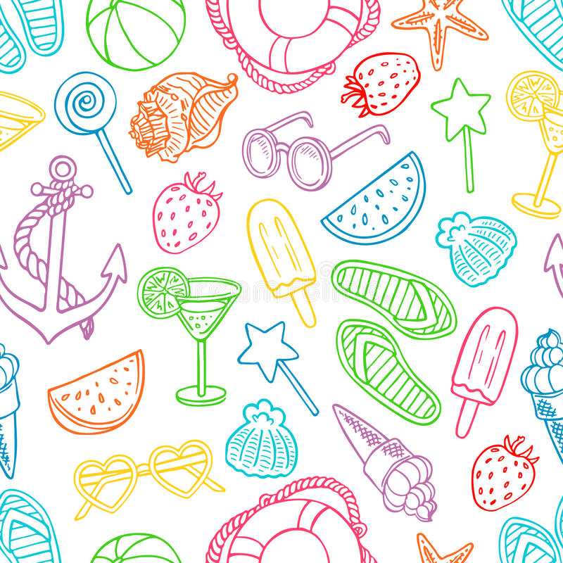Seamless Pattern With Hand Drawn Watercolor Ice Cream: Pattern With Summer Symbols Stock Vector