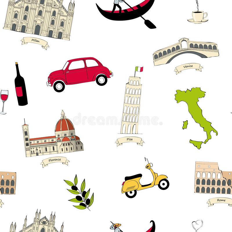 Pattern with symbols of Italy and sights stock photo