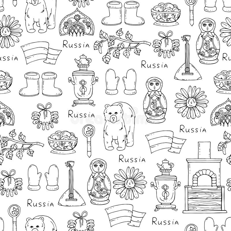 Pattern with symbols of Russia on white color royalty free illustration