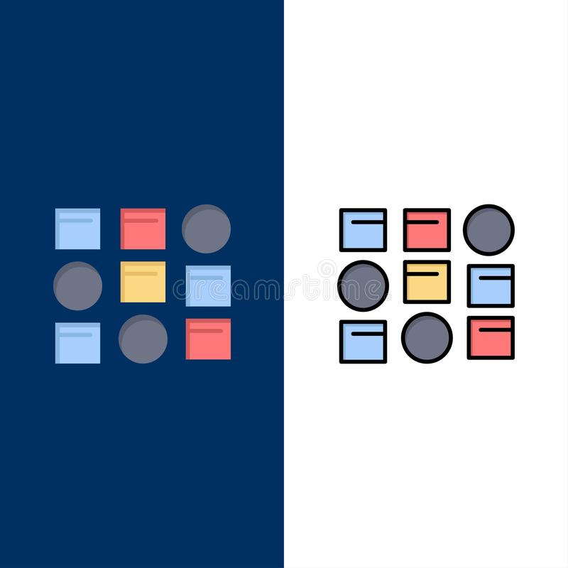 Pattern, System, Data Science, Pattern System  Icons. Flat and Line Filled Icon Set Vector Blue Background vector illustration