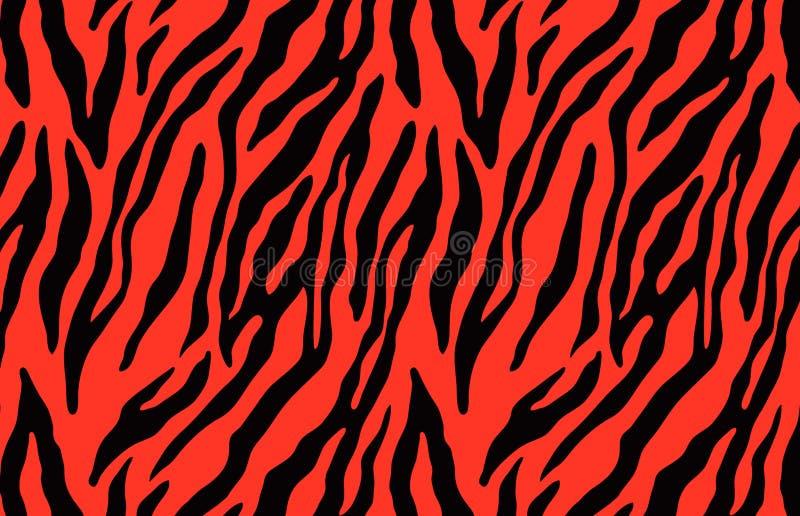 Pattern texture tiger red strip repeated seamless black jungle safari print . illustration design stock photo