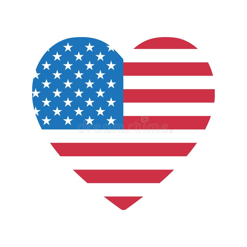 4th of July Happy Independence Day symbol icon HEART Patriotic American flag, stars isolated vector sign stock illustration