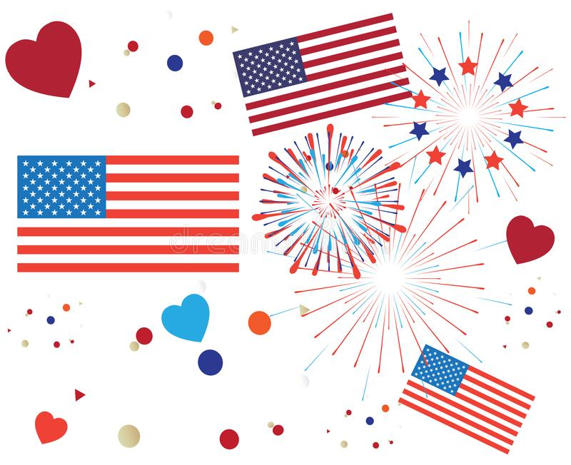 4th of July Happy Independence Day symbols icons set Patriotic American flag, stars fireworks confetti balloons ribbon pattern. Pattern 4th of July Happy vector illustration