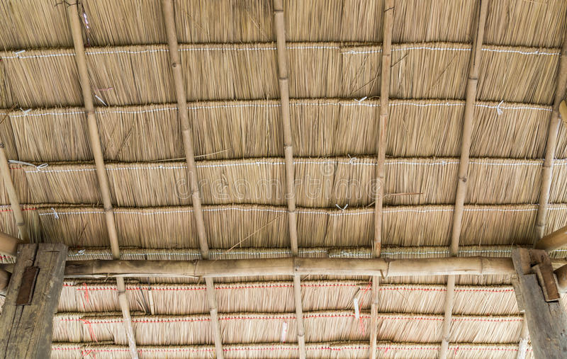 The pattern of the thatch roof. The pattern of the thatch roof inside the countryside cottage stock image
