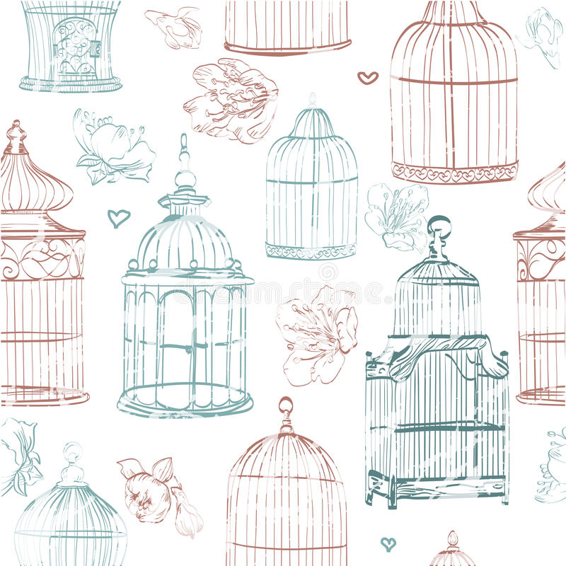 Free Pattern The With Color Cages And Flowers Royalty Free Stock Images - 60714329