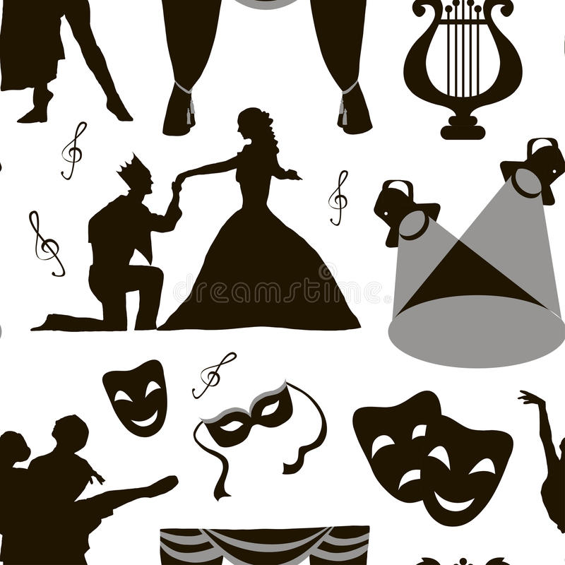 Pattern of theatre acting performance icons. Drama, comedy, curtain and mask, tragedy. Vector illustration royalty free illustration