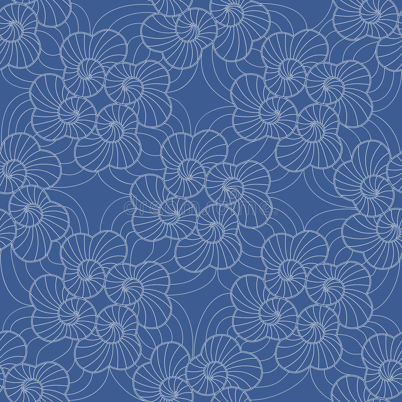 The pattern of threads in the form of scrolls on blue background stock photography
