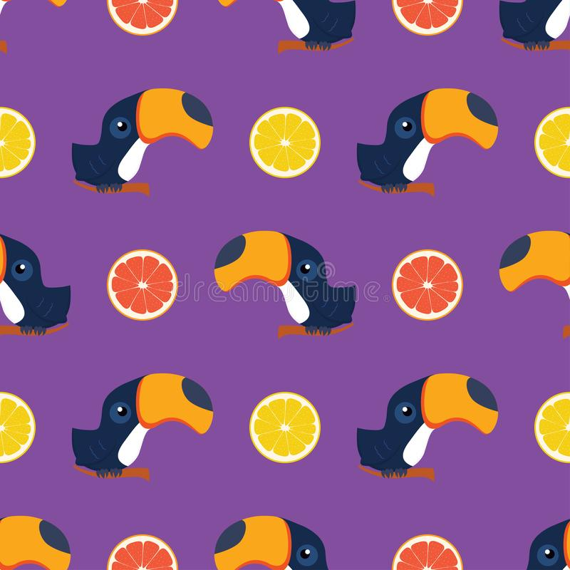 Pattern with toukan and citrus royalty free illustration