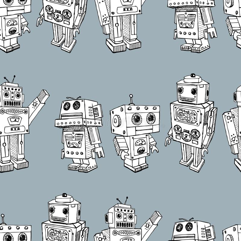 Pattern of the toy robots stock illustration