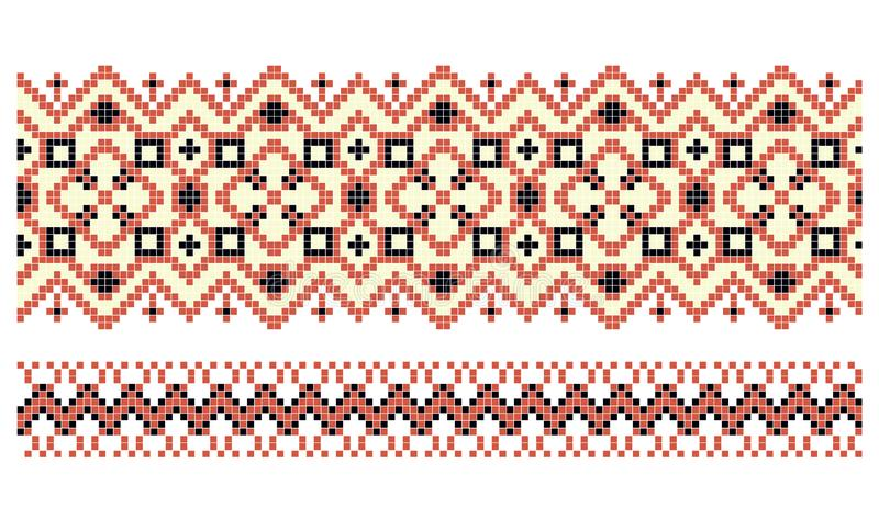 Pattern for traditional Ukrainian cross-stitch embroidery royalty free illustration