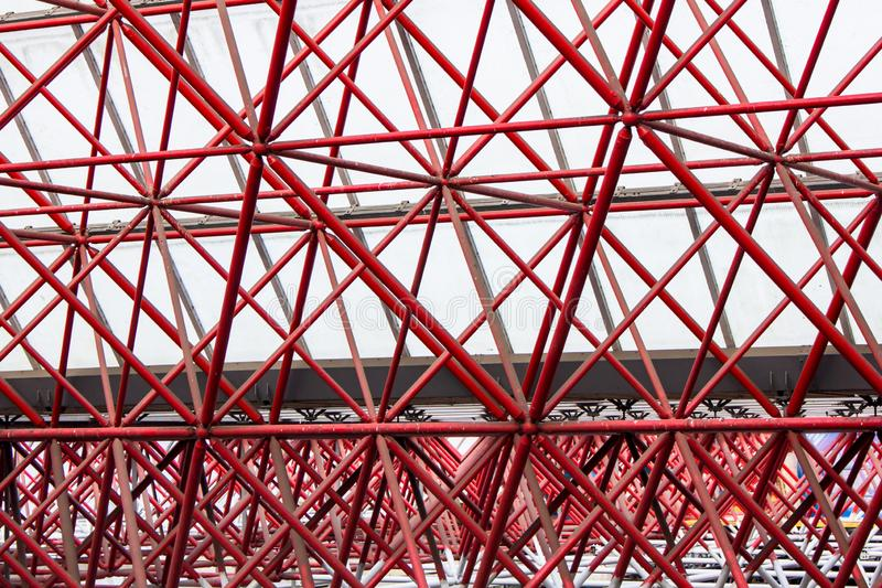Red pattern. Pattern at the train station in Zandaam, The Netherlands stock photos
