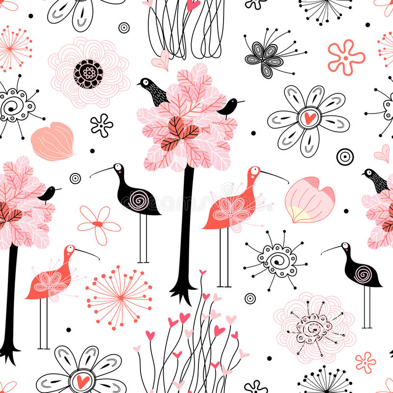 Pattern of trees and birds stock illustration