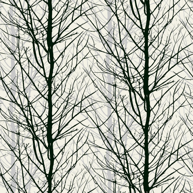 Pattern with trees silhouettes in black royalty free illustration