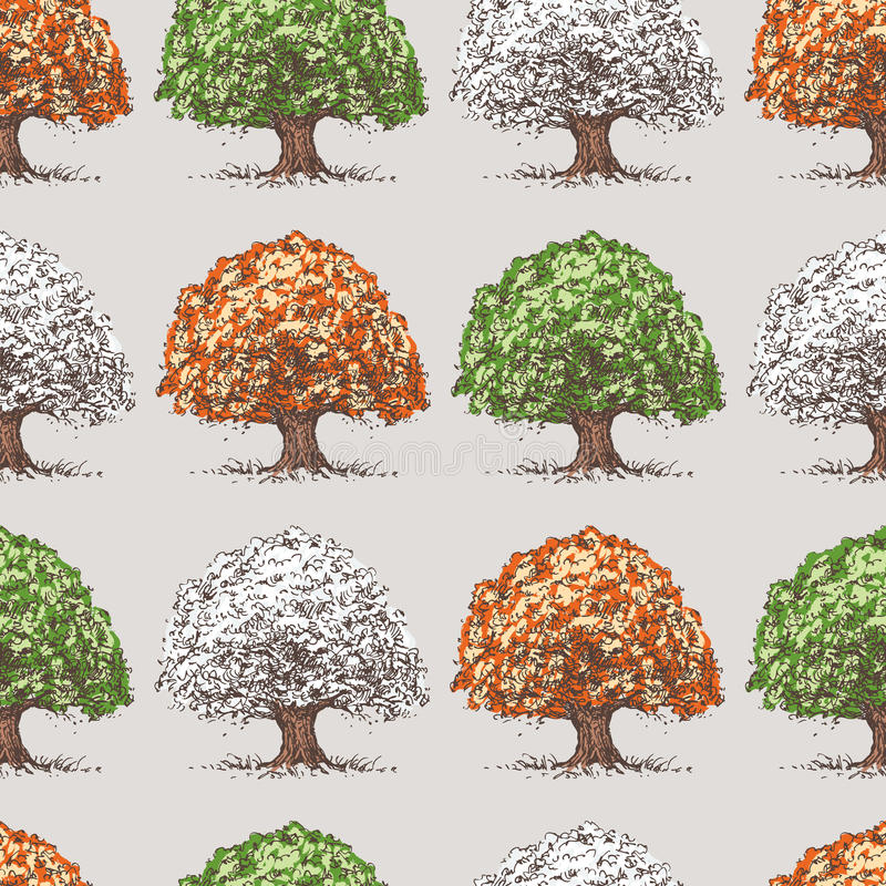 Pattern of trees at various times years stock illustration