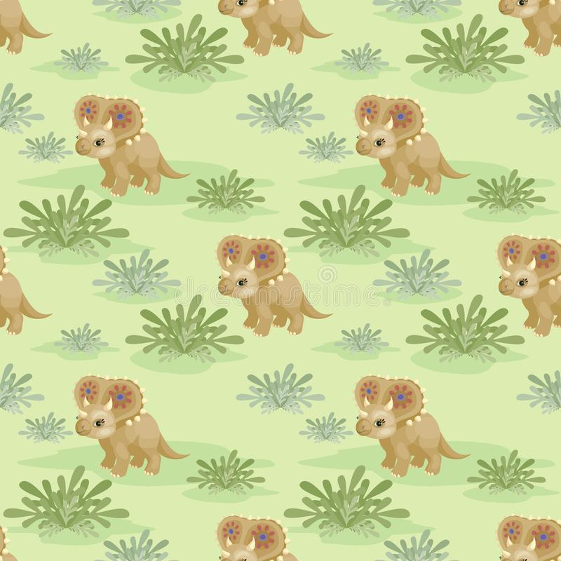 Pattern with triceratops stock illustration