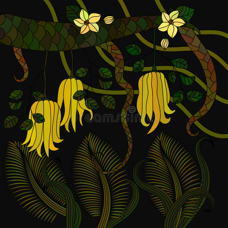 Pattern with tropical plants, flowers and citron. Buddha s hand . Vector illustration stock illustration