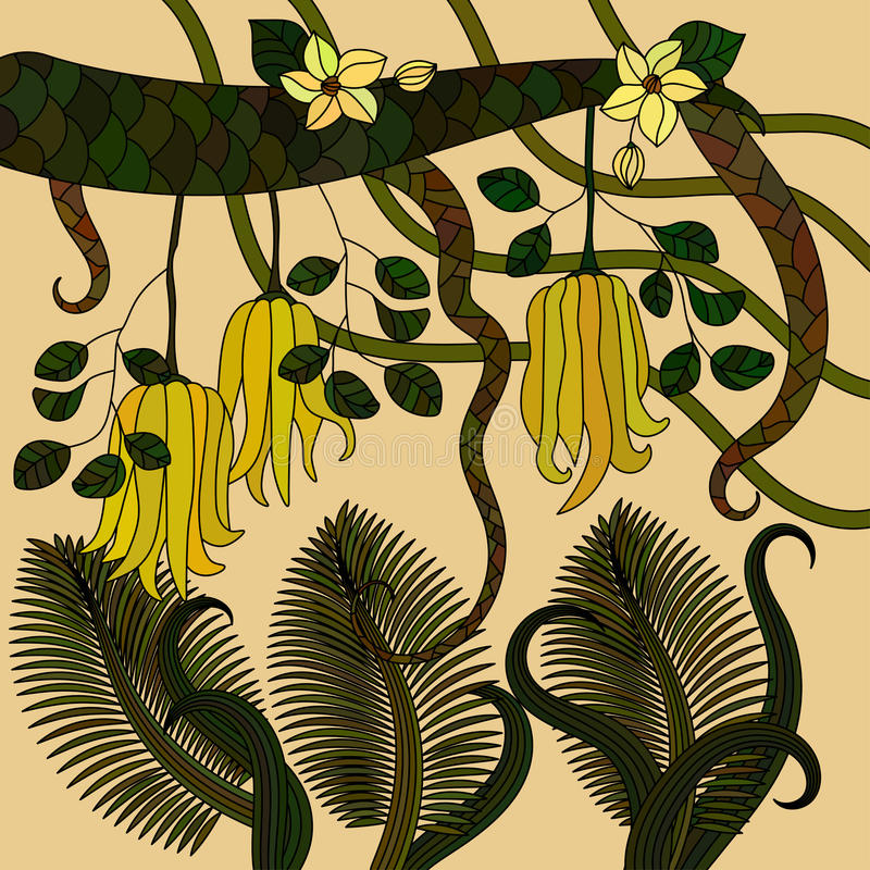 Pattern with tropical plants, flowers and citron. Buddha s hand . Vector illustration royalty free illustration