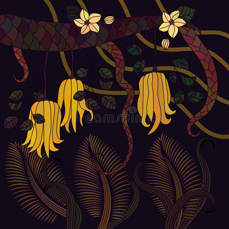 Pattern with tropical plants, flowers and citron. Buddha`s hand . Vector illustration stock illustration