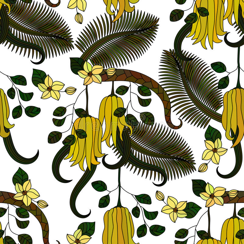 Pattern with tropical plants, flowers and citron. Seamless pattern with tropical plants, flowers and citron Buddha s hand . Vector illustration royalty free illustration