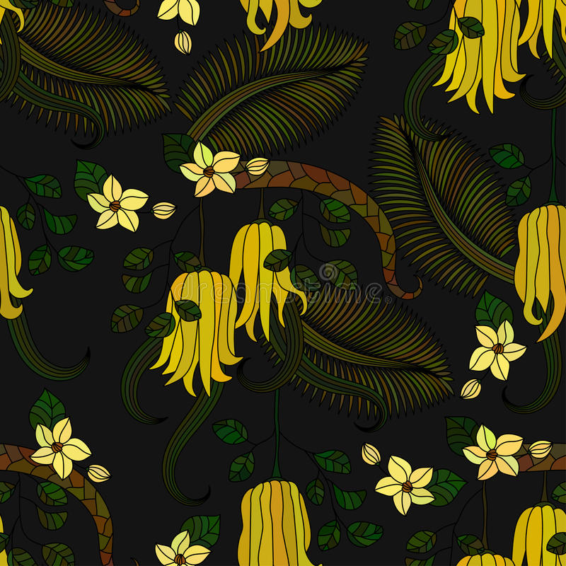 Pattern with tropical plants, flowers and citron. Seamless pattern with tropical plants, flowers and citron Buddha s hand . Vector illustration vector illustration