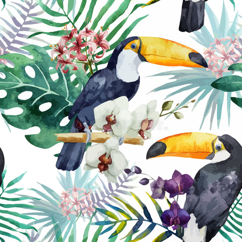 Pattern, tropical, watercolor royalty free illustration