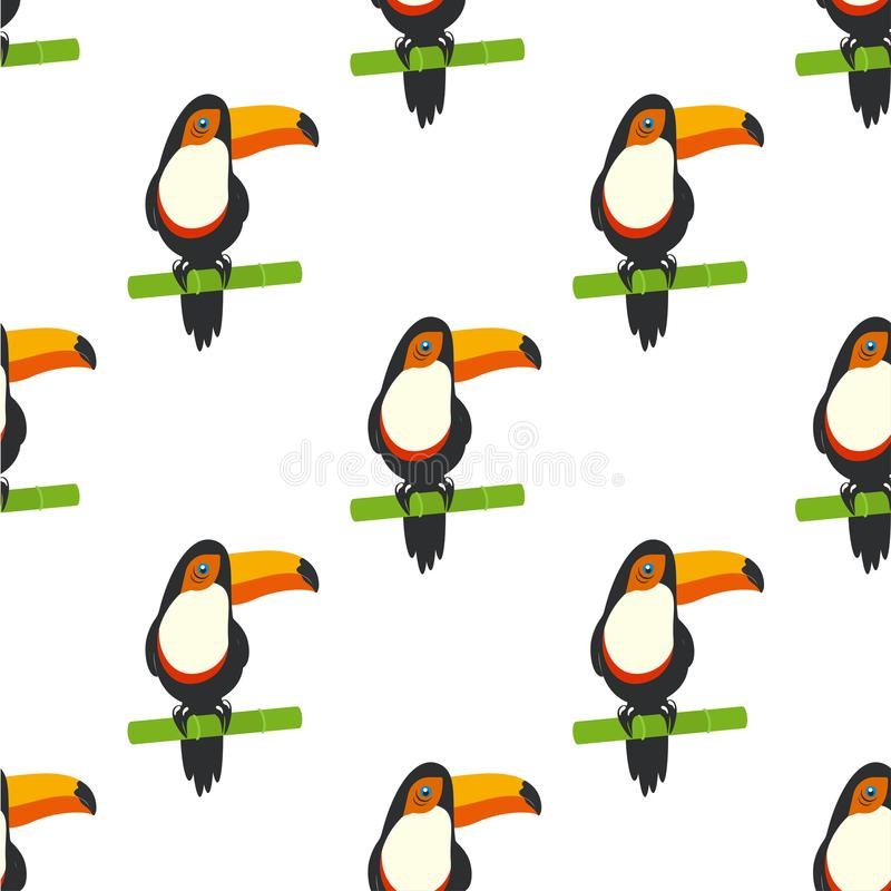 Pattern with tucan stock illustration
