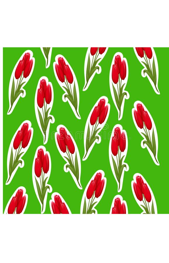 Pattern of tulips sticker on a green background vector illustration