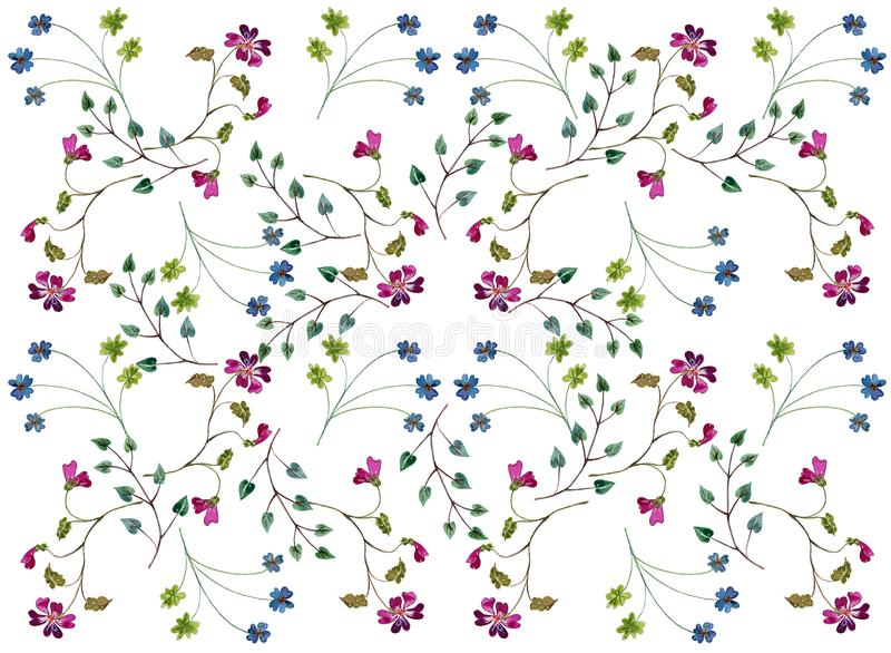 A pattern of twigs with small flowers and leaves. A pattern of twigs with small flowers and leaves, freely located on a white background. For various design vector illustration